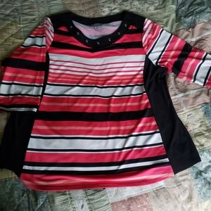 Tops - Laura Plus 2X Striped black white and red top